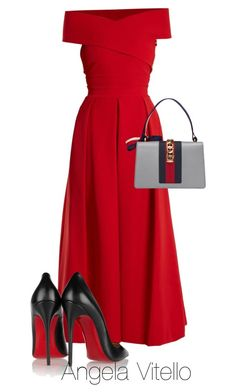 """Untitled #1107"" by angela-vitello ❤ liked on Polyvore featuring Preen, Gucci and Christian Louboutin"