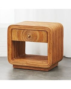 Solid proof what comes around goes around, this nightstand offers storage with warm style. Crafted of mahogany wood covered in arurog rattan, table& single drawer opens via brass knob. Modern Storage Furniture, Modern Bedroom Furniture, Rattan Furniture, Cool Furniture, Rattan Chairs, Pallet Furniture, Wicker, Living Room Furniture Arrangement, Furniture Inspiration