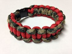 Paracord Bracelet - Camo & Red Cobra Weave by Stockstill Outdoor