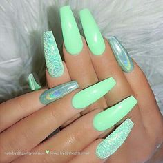 100 Best Nail Designs Colors for Spring 2019 # Spring # for . - 100 Best Nail Designs Colors for Spring 2019 Coffin Nails Long, Long Nails, My Nails, Glitter Nails, Nail Designs Spring, Cool Nail Designs, Art Designs, Coffin Nails Designs Summer, Colourful Nail Designs