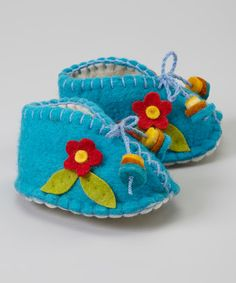 Loving this Turquoise & Red Flower Wool Booties on #zulily! #zulilyfinds