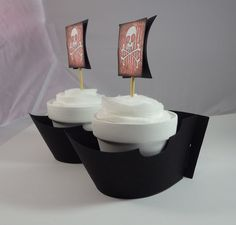 Pirate Ship Cupcake Topper & Wrapper Set.  PIRATES. by EPICparties, $15.00
