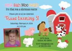 Farm Animals Birthday Invitation DIY Print Your Own by jcbabycakes, $11.00