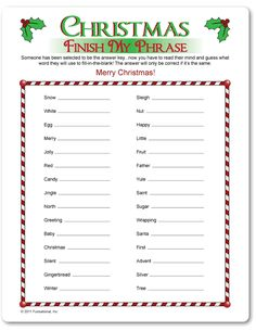 Printable Christmas Finish My Phrase - Funsational.com Xmas Party Games, Christmas Party Games For Adults, Christmas Party Activities, Printable Christmas Games, Adult Christmas Party, Christmas Gift Exchange, Holiday Games, Christmas Entertaining, Christmas Trivia