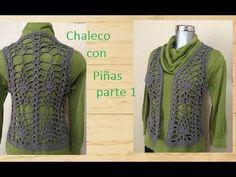 Chaleco a crochet con piñas ( parte 1) - YouTube Crochet Bolero, Crochet Baby Jacket, Crochet Cardigan, Free Crochet, Knit Crochet, Crochet Summer Tops, Crochet Crop Top, Pineapple Crochet, Crochet Videos
