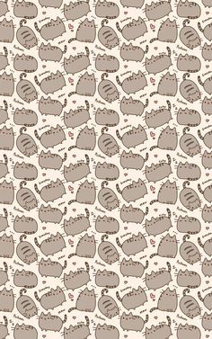 Pusheen wallpaper this is so adorable! I love Pusheen she's so so cute who doesn't love a cat with bean toes? Kitty Wallpaper, Wallpaper Telephone, Kawaii Wallpaper, Pattern Wallpaper, Cute Backgrounds, Wallpaper Backgrounds, Iphone Wallpapers, Iphone Backgrounds, Whatsapp Wallpaper