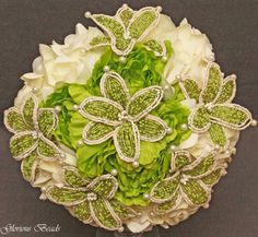 Amazon.com: Lime Green and Ivory Beaded Lily Bridal Wedding Flower 17 piece set with Peonies and Roses~ Unique French beaded flowers.: Handmade