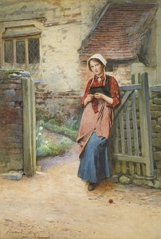 Carlton Alfred Smith (British painter) 1853 - 1946 At the Garden Gate, s.d. watercolour and bodycolour 14½ x 10¼ in. (37 x 26 cm.) signed l.l.: Carlton. A. Smith private collection