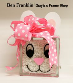 glass block crafts   Glass Block Bunny  Project by Ben Franklin Crafts & Frame Shop - Vinyl Supplied by Vinyl Words