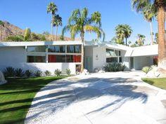 Palm Springs Home white brick, retro  mid-century modern - high , wide windows