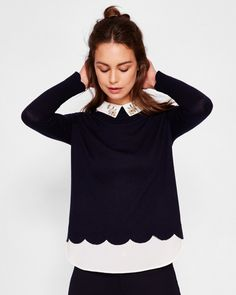 Embellished collar sweater - Navy | Sweaters | Ted Baker