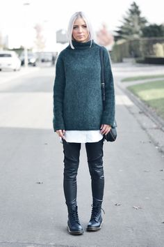 Turn it inside out, petrol, mohair jumper, h&m trend, dr martens, boots, virginia leather, black, pascal, leather trousers, h&m dragon tattoo, marc b bag, dylan