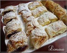Need to translate recipe! Hungarian Strudel, filled with sour cherry or peach or cottage cheese or with anything tasty. Hungarian Desserts, Hungarian Cake, Hungarian Cuisine, European Cuisine, Ukrainian Recipes, Croatian Recipes, Hungarian Recipes, Hungarian Food, Baking Recipes