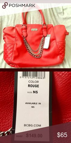 """BCBG Red Quilted Faux Leather Bag Timeless and beautiful with a well-constructed handbag by BCBG  NWT $149  AUTHENTIC 100%  COLOR DARK RED """"ROUGE""""  LARGE BCBGeneration Bags"""