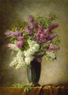 Martial Hupé (1880-1920)  — A Still Life with Lilacs in a Vase on a Table (841×1182)