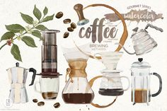 Watercolor coffee brewing methods by GrafikBoutique on Creative Market