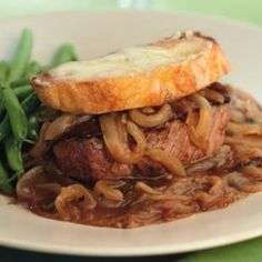 French Onion Beef Tenderloin for Two - one of my favorite recipes and under 400 calories!! food