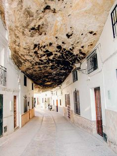 Setenil de las bodegas, an amazing rock village in Cadiz (Andalusia, Spain) Oh The Places You'll Go, Places To Travel, Travel Destinations, Places To Visit, Cadaques Spain, Nerja Spain, Alicante Spain, Madrid, Spanish Towns