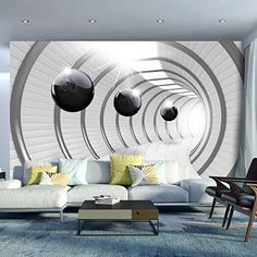 Wallpaper 400x280 cm ! Non-woven - Top - Murals - Wall - Mural - Photo - modern- Abstraction Tunnel Sphere 3D Black White a-C-0001-a-a