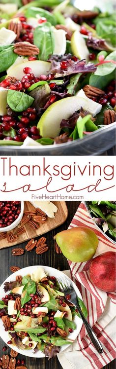 Thanksgiving Salad ~ this gorgeous Pomegranate, Pear, Pecan, & Brie Salad with Homemade Balsamic Vinaigrette is loaded with vibrant colors and flavors and contrasting textures. It would be the perfect addition to your Thanksgiving or Christmas holiday table, or it would make any dinner special! | http://FiveHeartHome.com