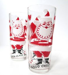 Vintage Drinking Glasses Retro Santa by TheVintageResource