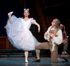 Pacific Northwest Ballet principal dancer Kaori Nakamura as Swanilda playing the doll Coppélia, and artistic director Peter Boal as Dr. Coppelius in PNB's premiere production of Coppélia: