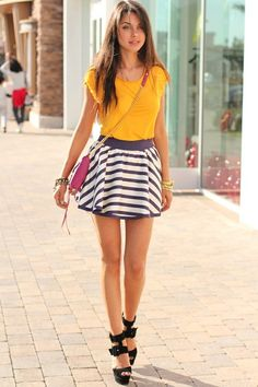 Purple & white striped skirt & yellow top