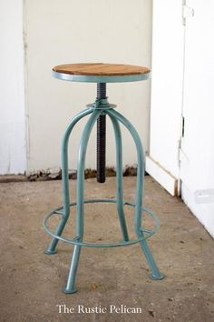 """For sale ~ Rustic Bar Stool, Bar Stool, Farmhouse Bar Stool, Bar Stool, Industrial Bar Stool, Reclaimed Wood Bar Stool Simple ♥ Rustic ♥ Elegant ♥ For sale is an adjustable Rustic Farmhouse Bar Stool with a reclaimed wooden seat. Product Dimensions: 18""""d x 23""""t - 32""""t"""