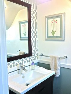 Powder Room with silver wallpaper and new chair rail by Jewels at Home. Powder Room with silver wallpaper and new chair rail by Jewels at Coastal Powder Room, Blue Powder Rooms, Modern Powder Rooms, Tiny Bathrooms, Modern Bathroom, Small Bathroom, Master Bathrooms, Powder Room Wallpaper, Silver Wallpaper