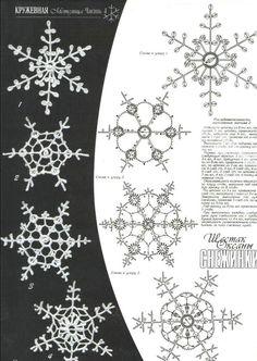 Crochet Patterns Christmas crochet patterns of snowflakes angels. Crochet Diy, Thread Crochet, Crochet Motif, Irish Crochet, Crochet Doilies, Crochet Flowers, Crochet Stitches, Crochet Patterns, Crochet Snowflake Pattern