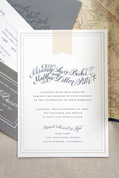 Whimsical Peach Gray and Navy Wedding Invitation