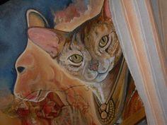 Anuba - acrylic on canvas board - work in progress  cats - gatti -  from a Ray Bradbury novel