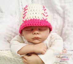 Girls Pink Baseball Baby Beanie