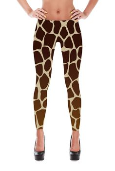 Giraffe pattern leggings for your next costume party or just to wear around. Check out our matching Giraffe Bra Top and Giraffe Dress. Shiny, durable and hot. These polyester/spandex leggings will nev