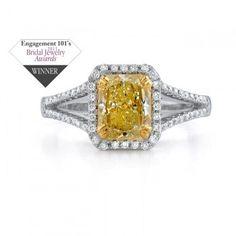 14k White Gold Split Shank Fancy Yellow Semi Mount Ring - NK18510FY-WY