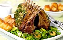 Lamb Rack With a Herb Crust and Vegetables