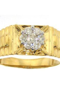 0.50CTW ROUND DIAMOND HIGH MEN'S RING     Metal Type: 14KYG     Metal Weight (gms):  0.91 (approx.)    GD-16202    thesgdex.com