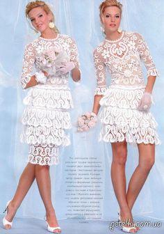 Свадебное платье крючком СЕРДЕЧНОЕ. Описание, схемы