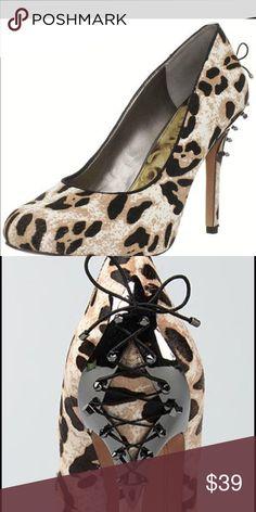 Sam Edelman snow leopard pump size 6.5 Gorgeous pony hair leopard pumps with lace up heel. Like new condition. Size 6.5 Sam Edelman Shoes Heels