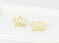 Delicate Lotus stud earrings, lotus earrings, flower earrings.