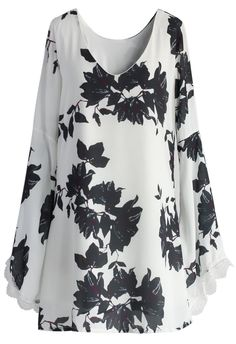 Midnight Floral Bell Sleeve Chiffon Dress in White - Retro, Indie and Unique Fashion