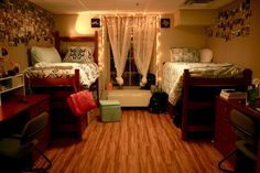 Love this Vanderbilt dorm room. Soft lighting and matching decor that still allows for own style!