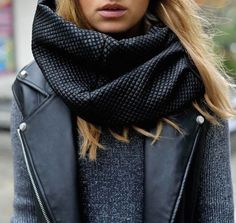 #winter #fashion / knit + leather