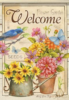 Welcome Flowers Spring Garden Flag Floral Butterfly Double Sided x for sale online Spring Home, Spring Garden, Welcome Flowers, Welcome Pictures, Flags For Sale, Garden Decor Items, House Flags, Garden Seeds, Garden Flags