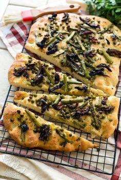 Spring Asparagus Herbed Focaccia [1200x1800] [OS] #foodporn #food #foodie #yummy #yum #foodgasm #nomnom #delicious #recipe