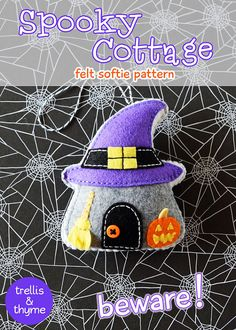 This listing is for an instant-download PDF-PATTERN. It is not a finished toy. Stitch up some spooky charm with this darling felt cottage pattern! The Spooky Cottage ornament is stitched entirely by hand, and is the perfect pattern for adventurous beginners. Finished ornament is approximately 4.75 inches tall.  Skills required: - Basic embroidery skills - Blanket stitch - Back stitch - Stem stitch - Applique stitch  This PDF pattern includes:  - Materials list  - Charming step by step…