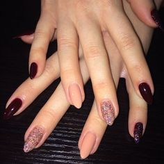 I have to confess that I am not a fan of the stilleto nails, but this manicure and those nails actually rock. Mix it up with Nudes, Maroon and Glitter #NailArt #ManicureMonday