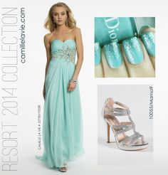 Chiffon and Lace Strapless Aqua Prom Dress by Camille La Vie