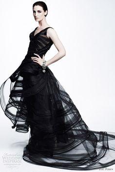 Bridal Black - black wedding dress; black wedding gown; black bridal gown; Zac Posen resort 2013 sleeveless black gown straps over skirt