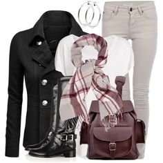 Pea Coat & Backpack, created by wishlist123 on Polyvore